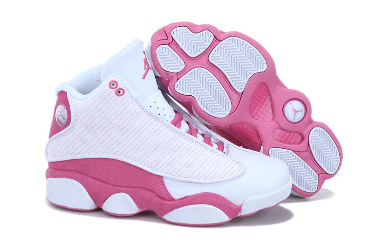 2013 air jordan retro 13 grey pink womens shoes