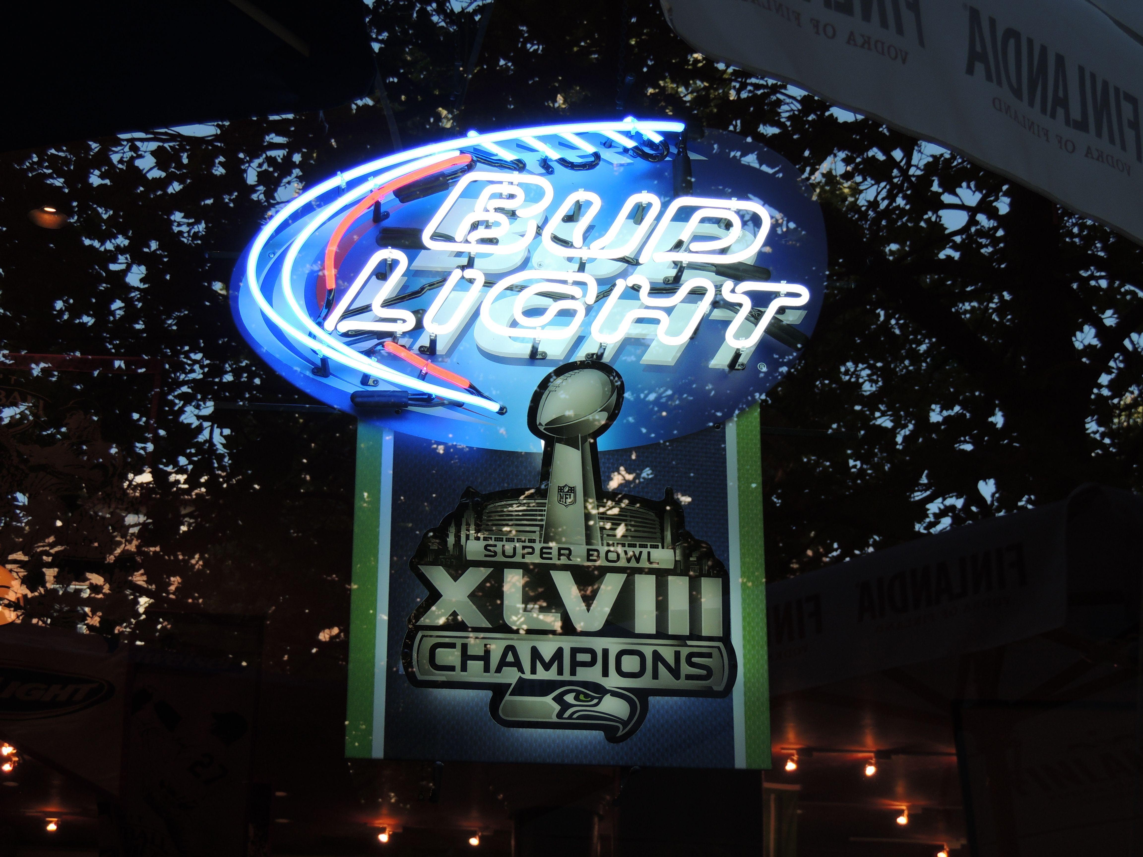 Neon Beer Sign Bud Light Seattle Seahawks Super Bowl