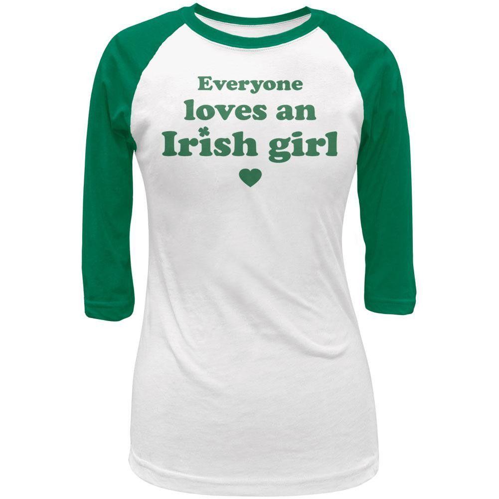 St. Patricks Day Everyone Loves an Irish Girl Juniors 3/4 Sleeve Raglan T-Shirt