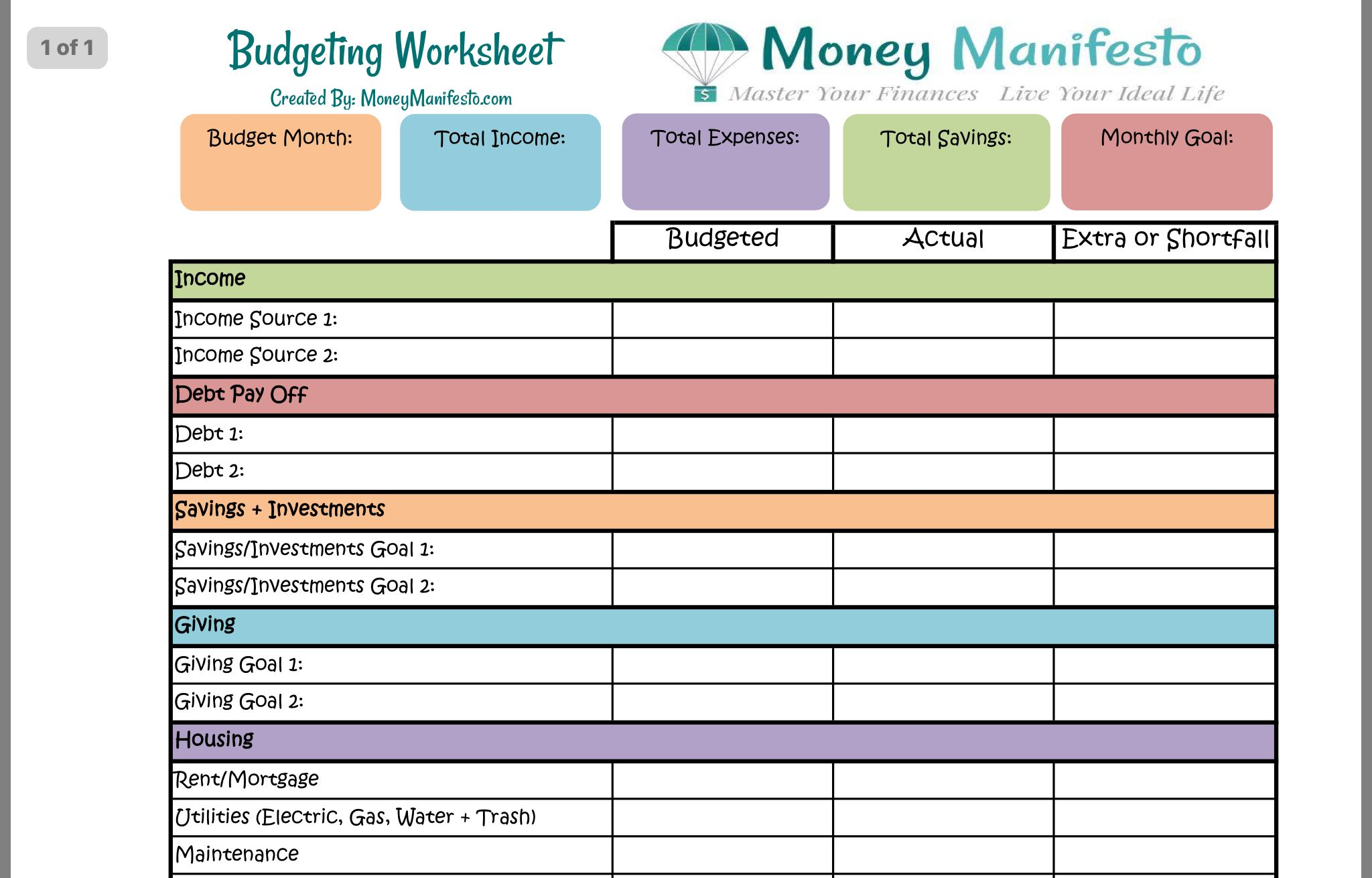 Pin About Budgeting Money Budgeting Worksheets And