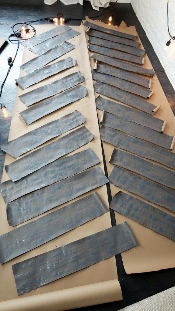 How to Create Faux Wood Planks for Paper Bag Flooring- Part 3 - #paperbagflooring