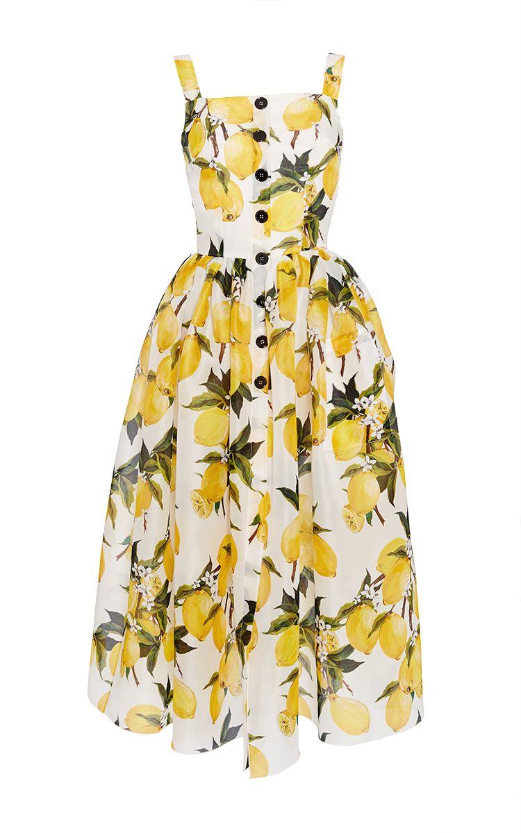 Cotton Lemon Print And Needlepoint Dress Lemon Print Dress Fashion Dolce Gabbana Dress [ 1200 x 750 Pixel ]