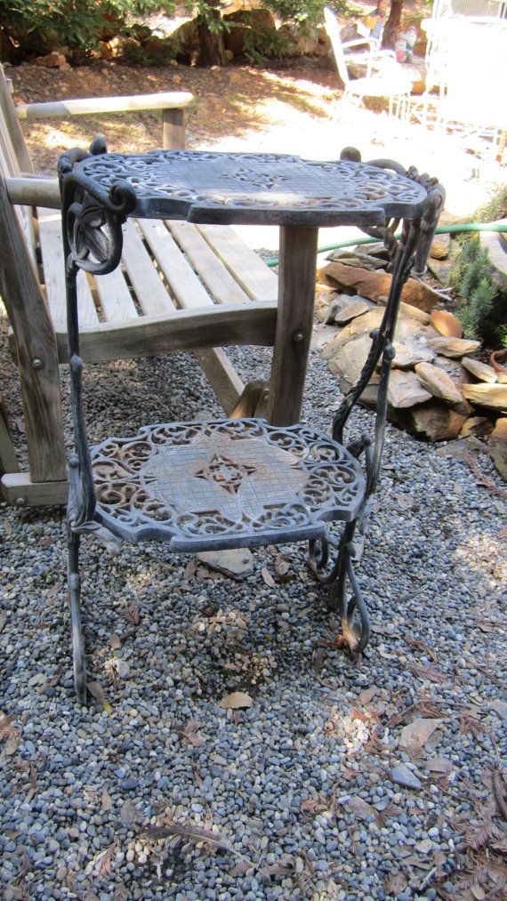 Vintage Cast Iron Plant Stand Side Table French Beautiful Cottage