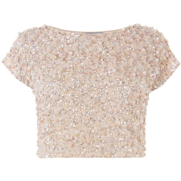 FELICITY EMBELLISHED TOP (500 RON) ❤ liked on Polyvore featuring tops, pink top, beaded top, embellished crop top, cut-out crop tops and crop top