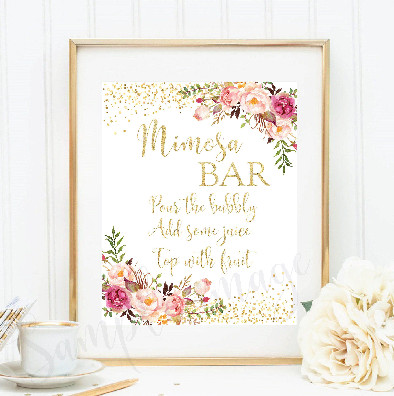 Mimosa Bar Sign Printable Mimosa Bar Sigs Party Printable Bridal Shower Sign Printable Wedding Decor Bridal Shower Gold And Pink Brs05 Bridal Shower Welcome Sign Bridal Shower Signs Bridal Shower Cards