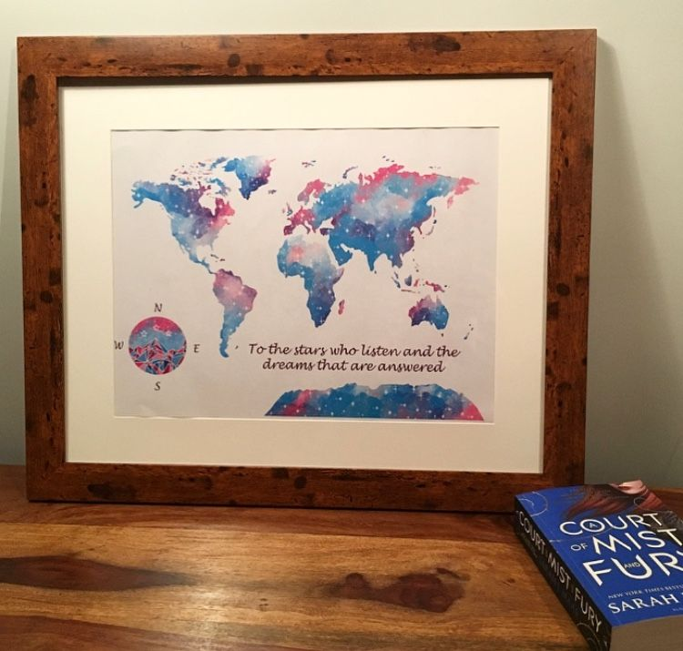 Acomaf Rhysand And Feyre Inspired World Map Glass Wall Art