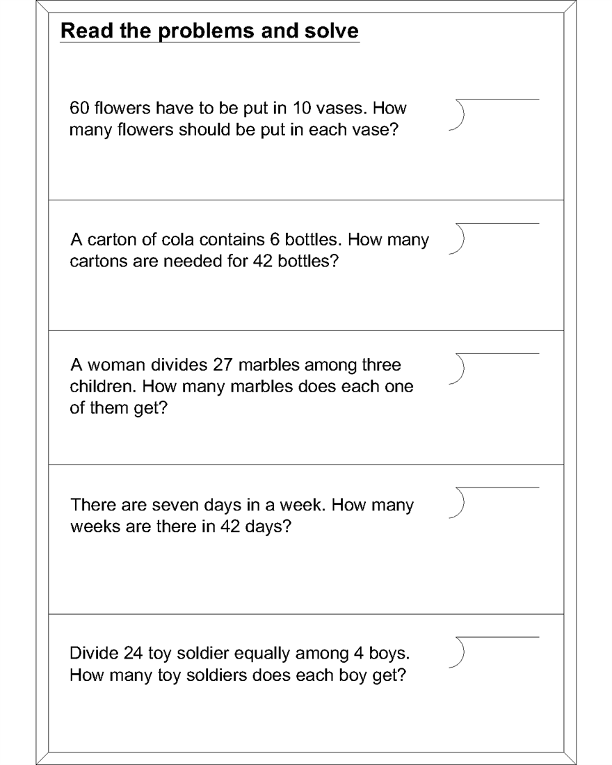 Division word problem worksheets Division word problems