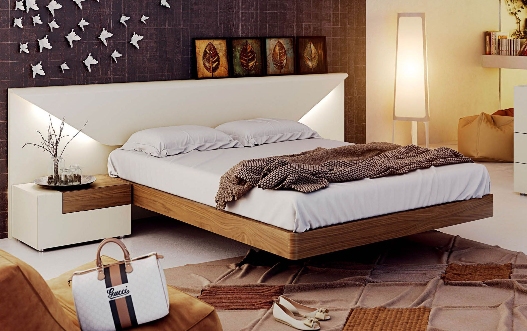Lacquered Made in Spain Wood Luxury Platform Bed Мебель