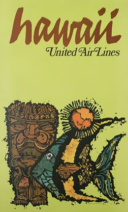 """United Airline 8.5/"""" x 11/""""  Travel Poster HAWAII"""