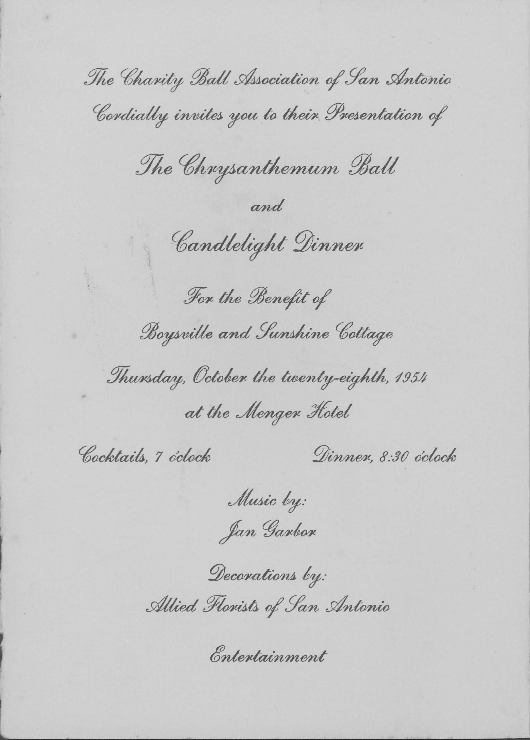 Charity Ball Invitation. UTSA Libraries Special Collections.