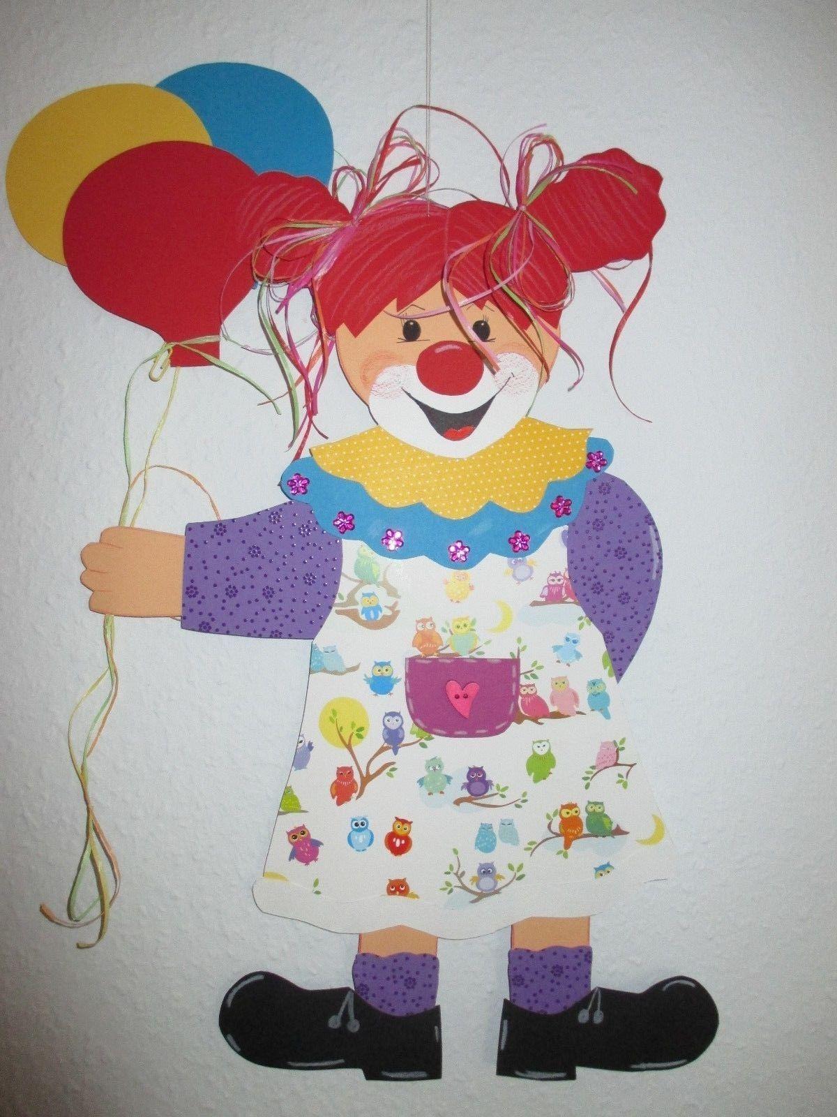 Fensterbild tonkarton clownin violetta xxl herbst winter for Dekoration karneval