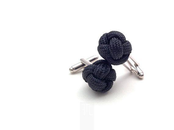 89acb4dbfe8 Black cufflinks in paracord rope handmade in by LapelsAndLinks ...