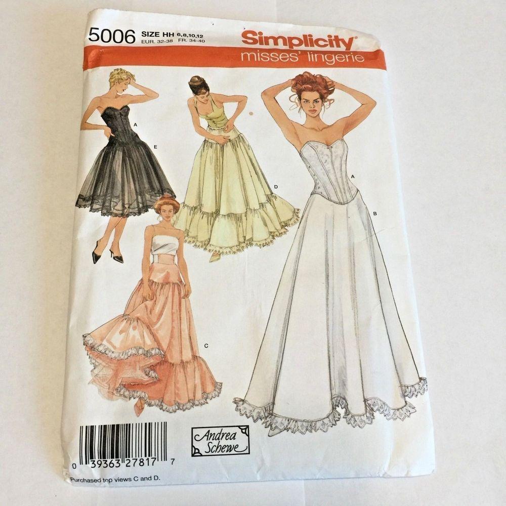 Details about Simplicity Lingerie Corset Petticoat Pattern 5006 ...