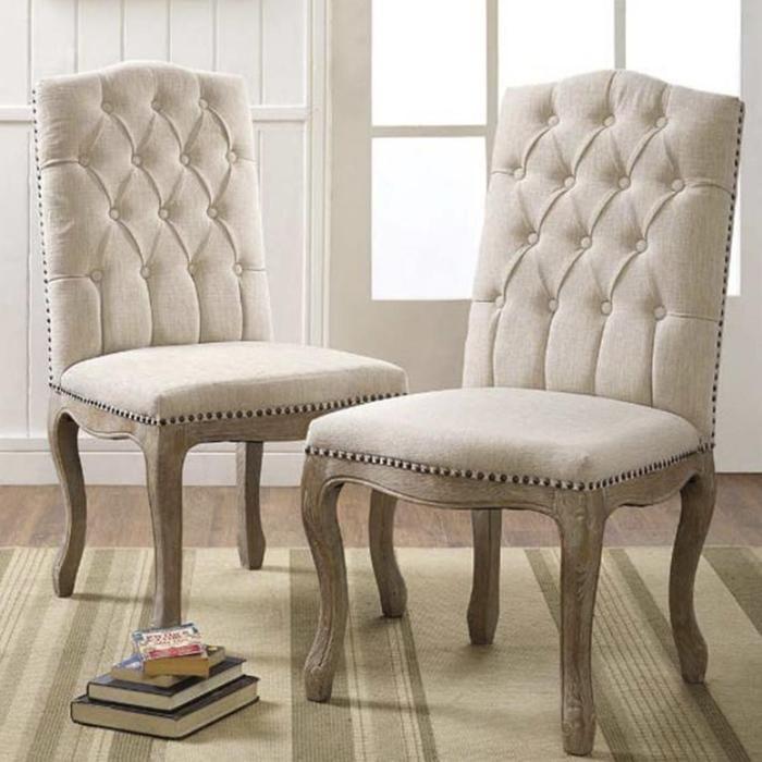 Tufted Back Linen Chair in Off-White   Nebraska Furniture ...