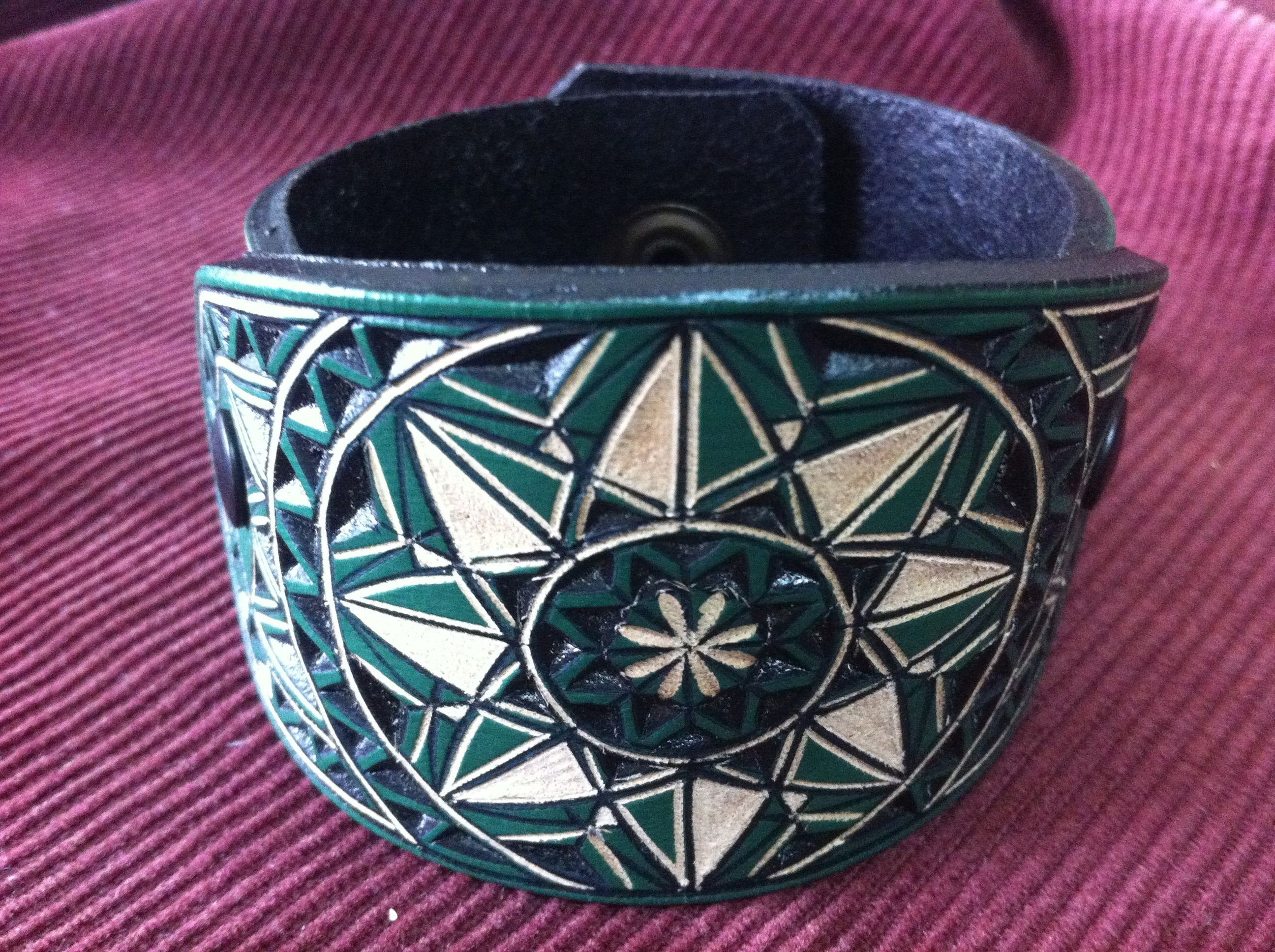 Photo of Geometrical green hand carved leather bracelet  – tooled leather jewelry – handmade leather cuff