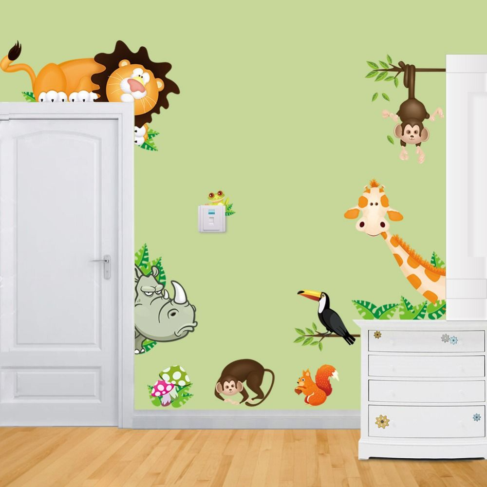 Tropical Jungle Animals Wall Stickers Decal Kids Monkey Deer Forest ...