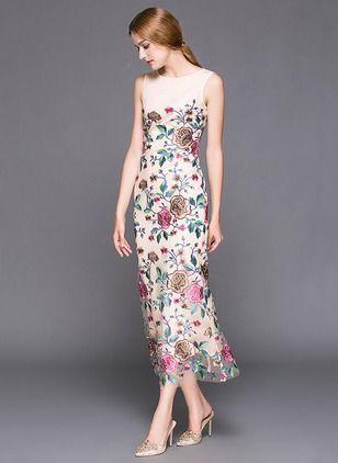 Polyester Florale Sans manches Maxi Vintage Robes (1014342) @ floryday.com