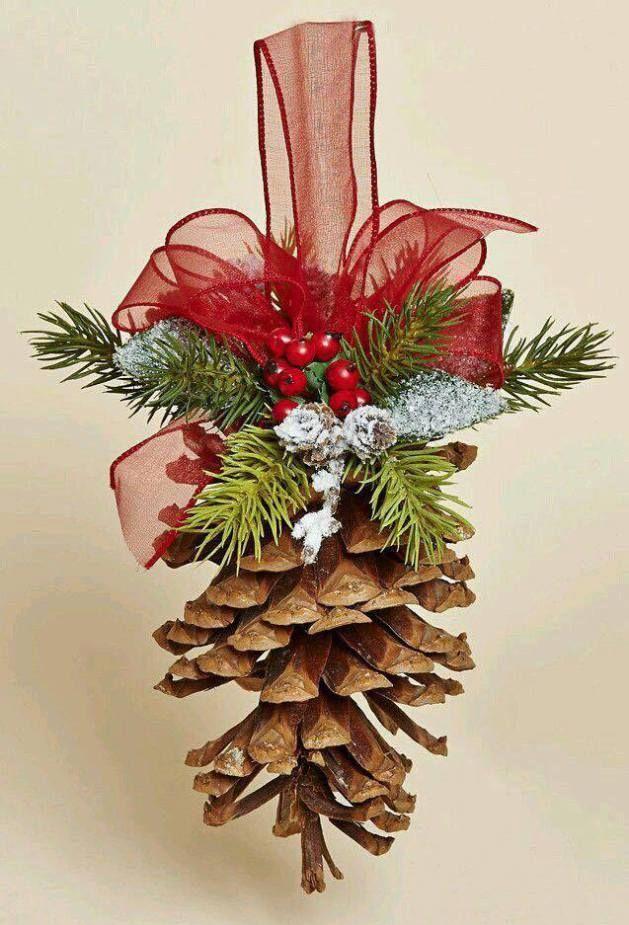 Adornos para el rbol de navidad con pi as de pino m s - Pinas de navidad adornos ...