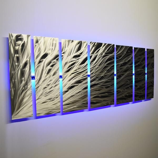 Lighted Metal Wall Art Silver Rush Led See Video Abstract