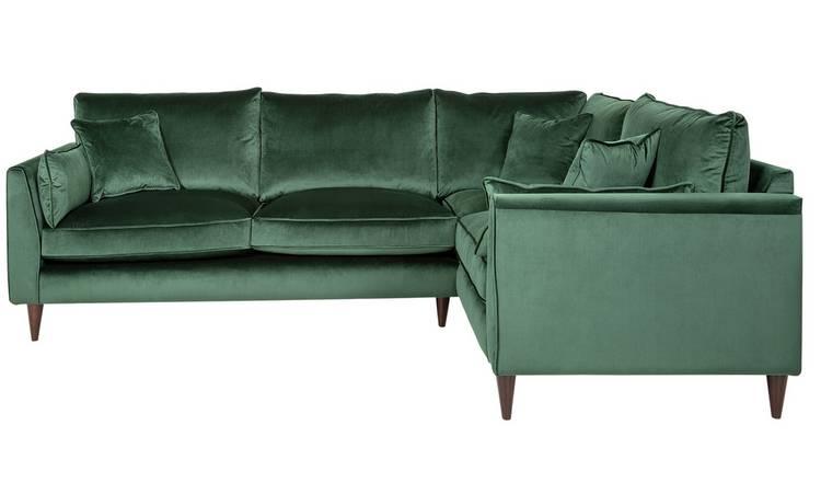 Buy Argos Home Hector Right Corner Velvet Sofa Green Sofas Argos In 2020 Green Corner Sofas Green Sofa Argos Home