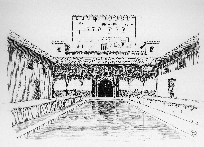 Patio De Los Arrayanes Alhambra Granada Schizzi D Architettura Schizzi Architettura
