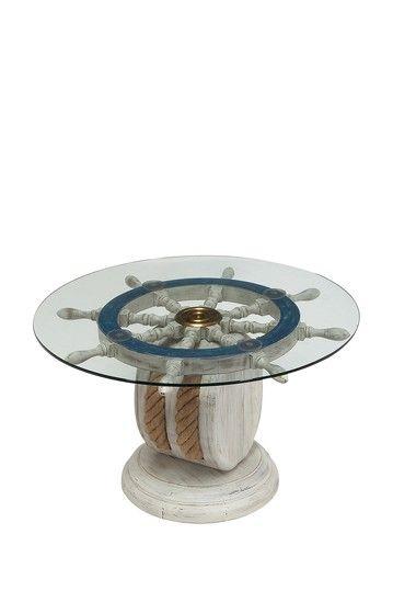 Coastal Living Decor Wood And Gl Blue Ship Wheel Table 139 00