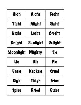 Worksheets Igh Words Phonics cards for ie and igh word sort work pinterest words sort