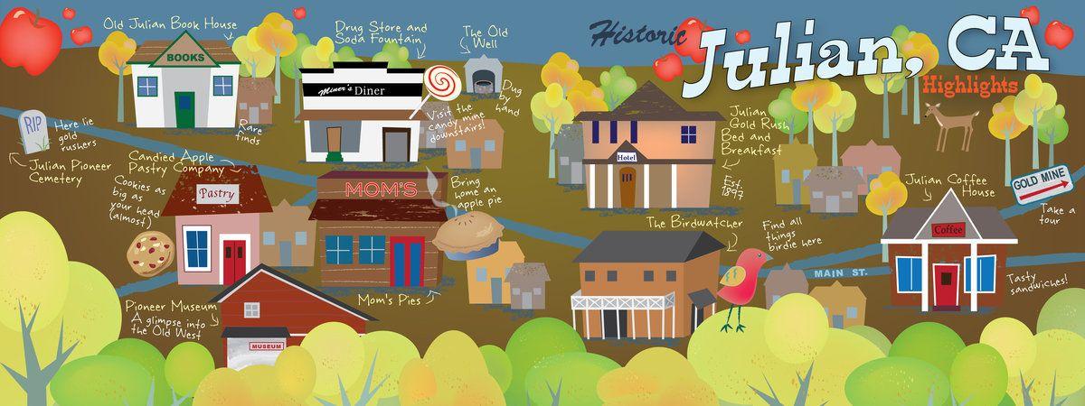 Julian California Map TITLE: Julian, California STARTING POINT: Julian Gold Rush Bed and  Julian California Map
