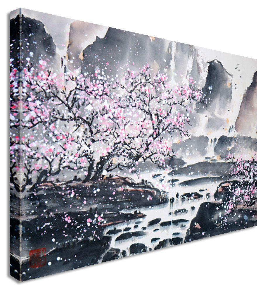 Cherry Blossom Canvas Wall Art large abstract japanese painting cherry blossom canvas wall art