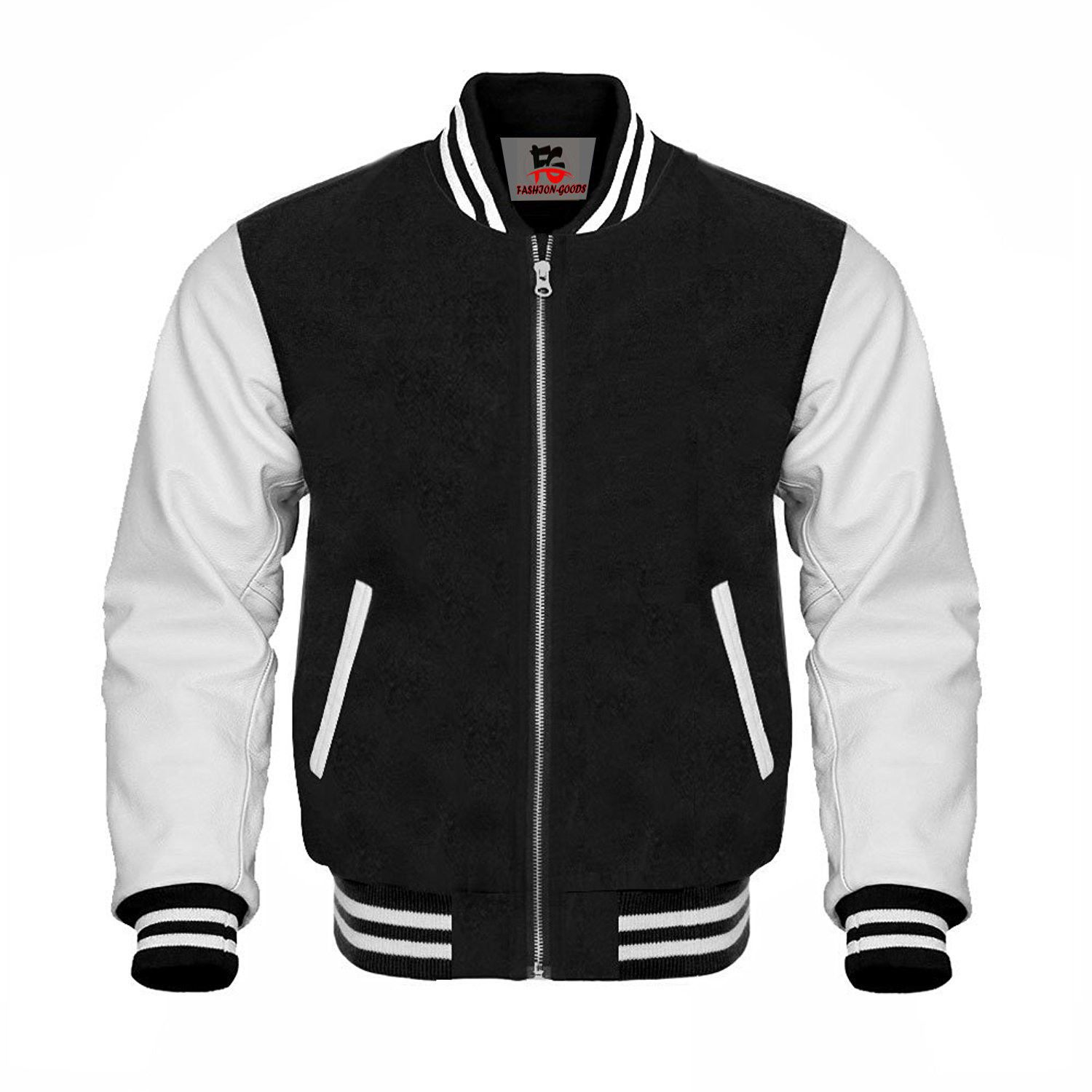 Varsity Baseball Black Wool White Genuine Leather Sleeve Jacket Letterman Leather Sleeve Jacket Black Letterman Jacket Leather Varsity Jackets