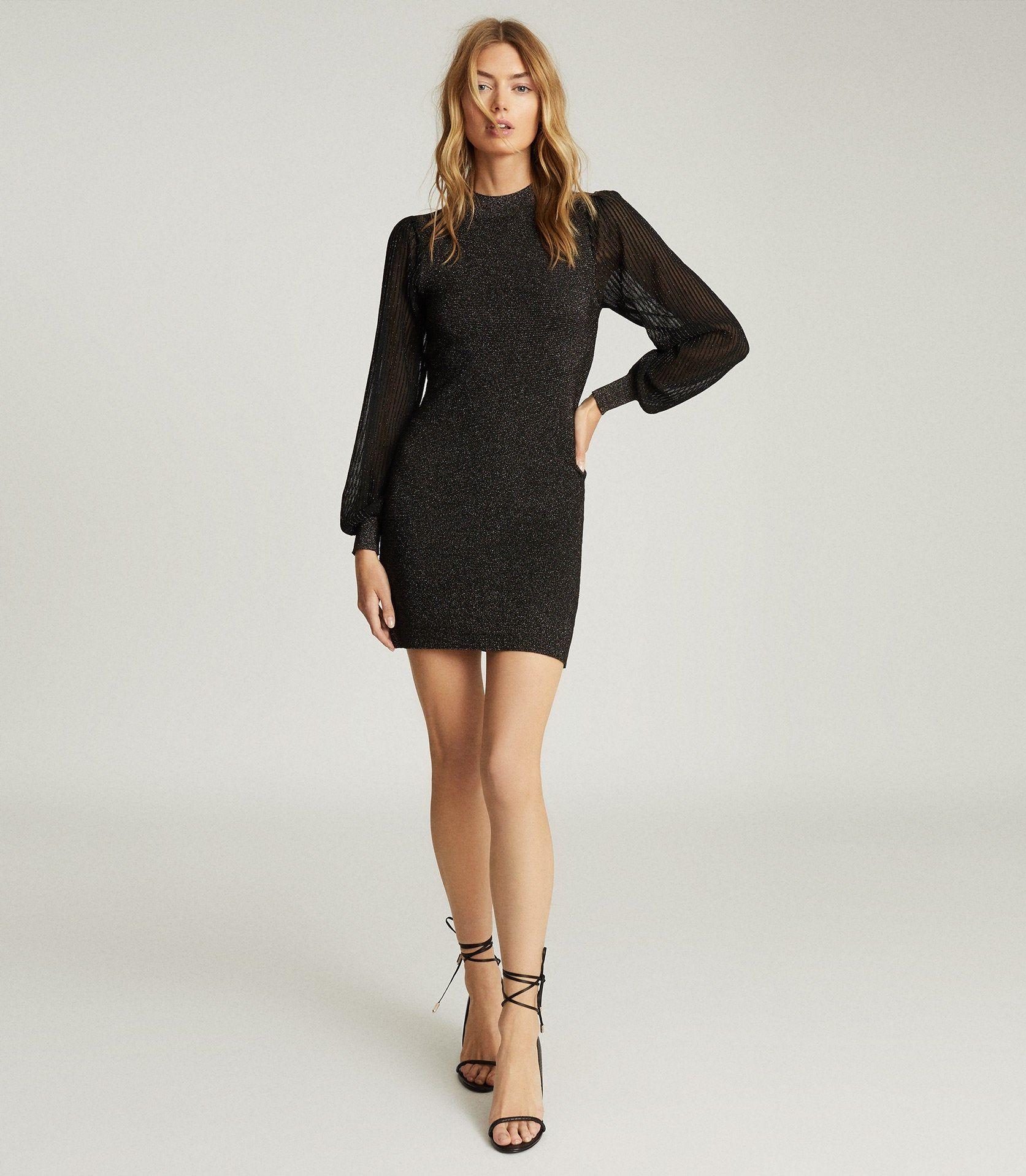 Sia Black Metallic Semi Sheer Sleeve Dress Reiss [ 1918 x 1673 Pixel ]