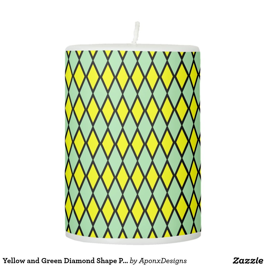 Yellow and green diamond shape pattern candle designs pinterest