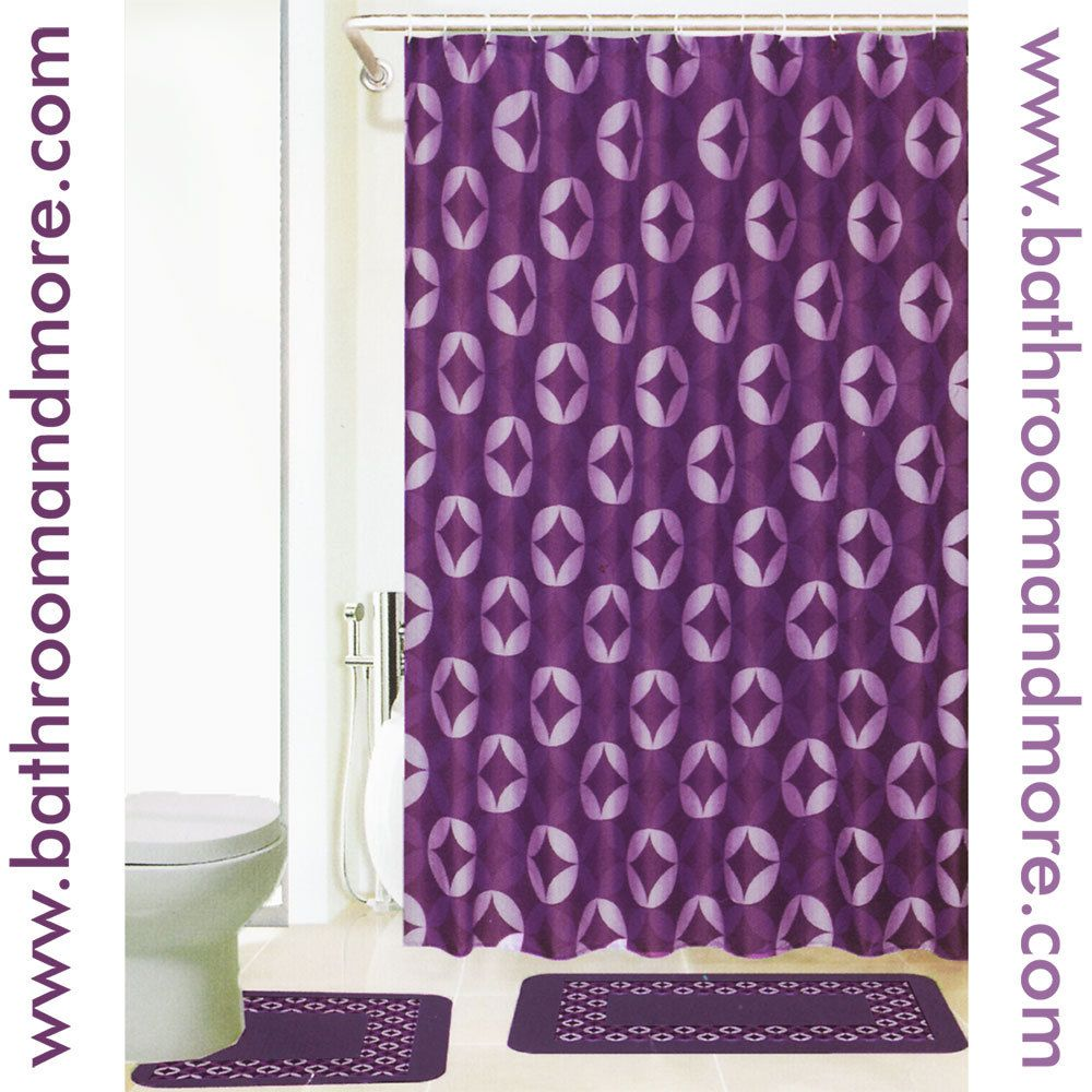 Purple shower curtain liner - Purple Fabric Shower Curtain Purple Velvet Print Bath Mat And Fabric Shower Curtain Liner Set