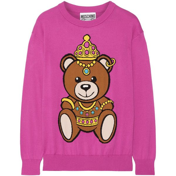 Moschino Intarsia cotton sweater (€455) ❤ liked on Polyvore featuring tops, sweaters, pink, slouch sweater, moschino sweater, pink sweater, bear sweater and pink top