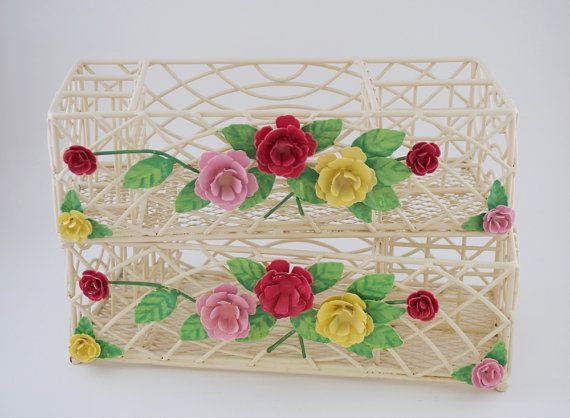 Two Vintage Cosmetic Organizers Wire Baskets, by FairyLynne --SOLD-- See more items in FairyLynne's shop: http://www.etsy.com/shop/FairyLynne