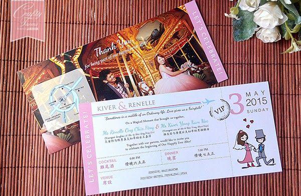Photo ticket style wedding card handmade wedding card and favours photo ticket style wedding card stopboris Gallery