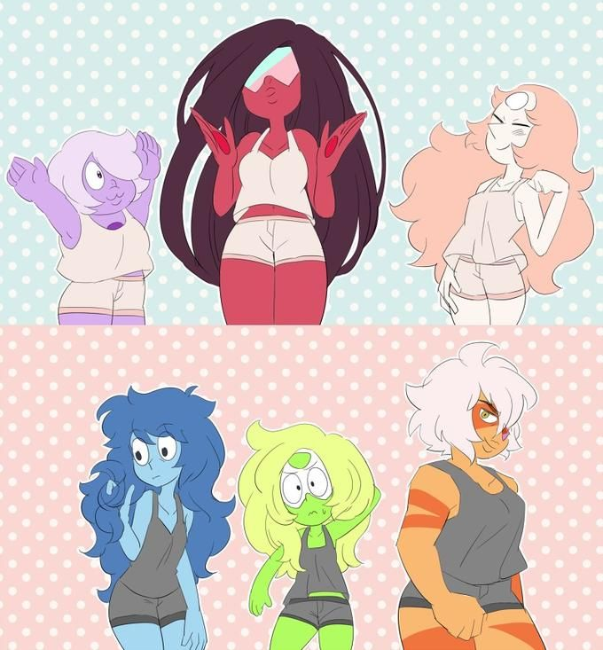 <3 gems with different hairstyles