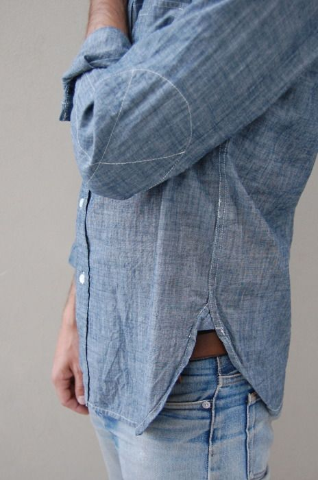 Love the elbow details on the Woolrich Chambray shirt.