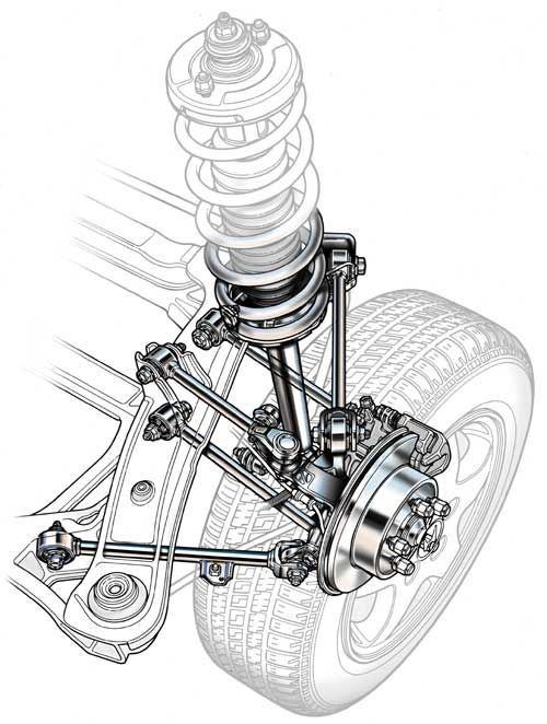 an automotive illustration of a suspension system