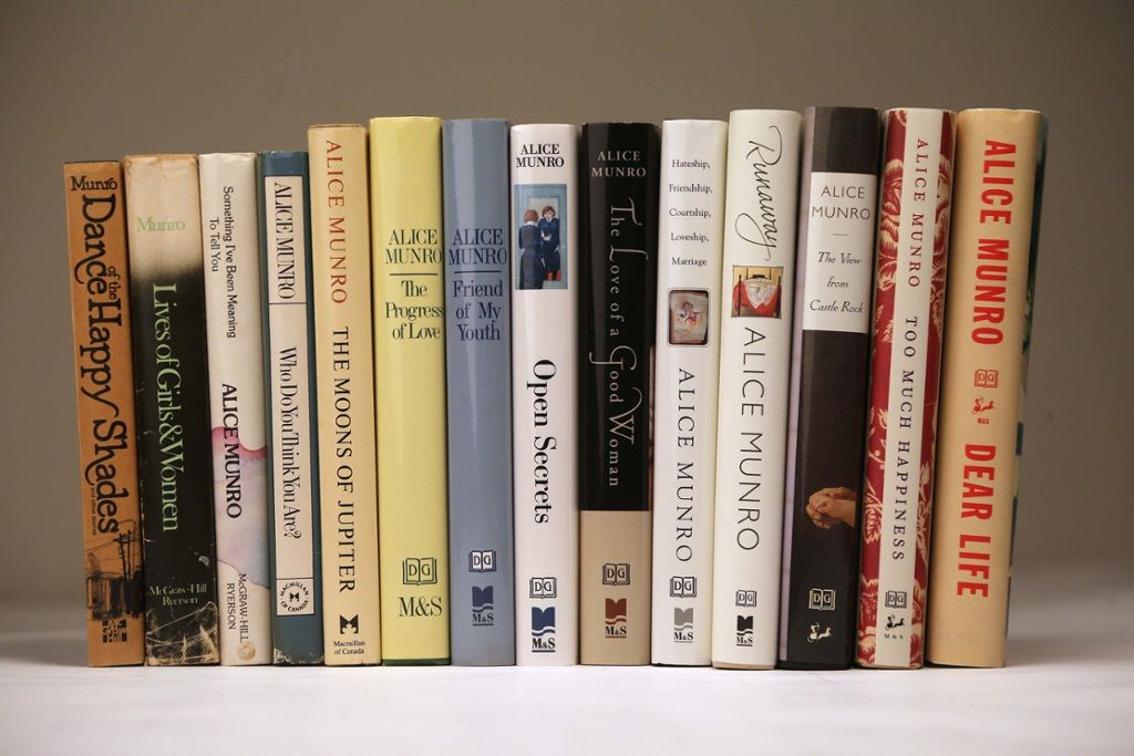 Interactive: Scroll over the #books to learn more about #AliceMunro's career. #NobelPrize