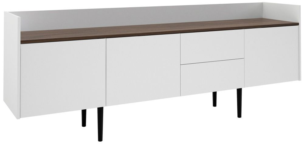 Unit Large Sideboard White And Walnut White Sideboard