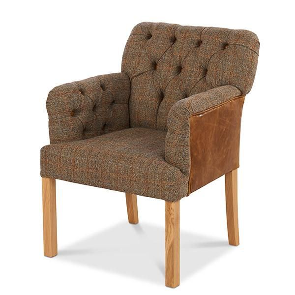 Fabulous Scout Grand Leather Harris Tweed Dining Chair Cabinet Lamtechconsult Wood Chair Design Ideas Lamtechconsultcom