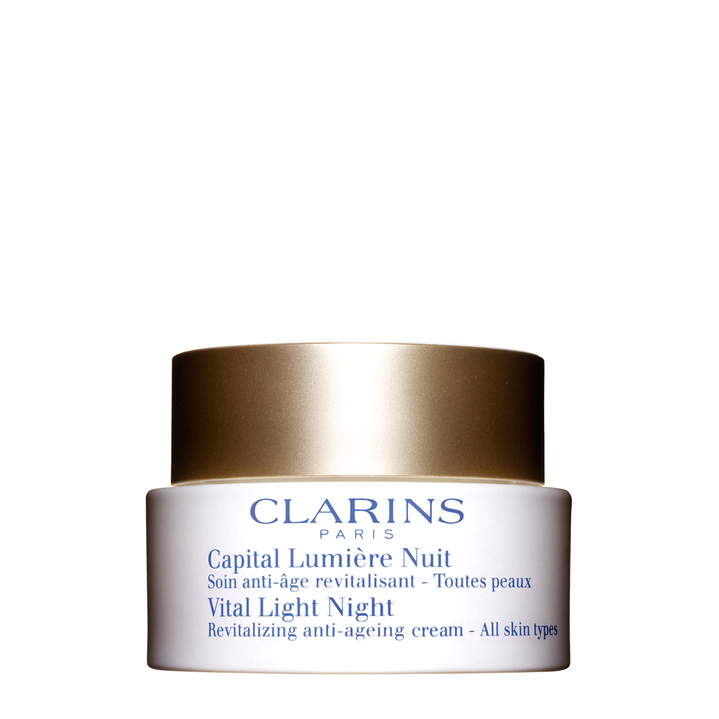 "Night Revitalizing Cream All Skin Types - Only Clarins science harnesses the power of two rare pioneer plants that work while you sleep — bathing skin in age-defying luminosity. Cochlearia Officinalis and Waltheria extracts* reorganize weak collagen into a resilient cushion that beams light up to the skin's surface, restoring the deep luminosity of young-looking skin. Palmitoyl Glycine encourages optimal skin nutrition for a fresh, ""lit from within"" glow by morning. * International…"