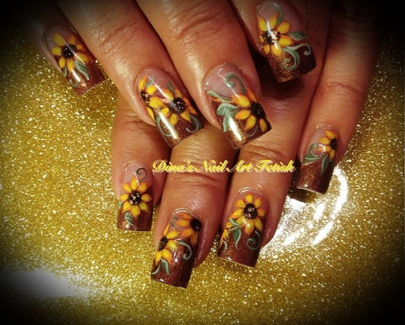 Fall Sunflowers 2012 - Nail Art Gallery | Nails | Pinterest | Nail ...