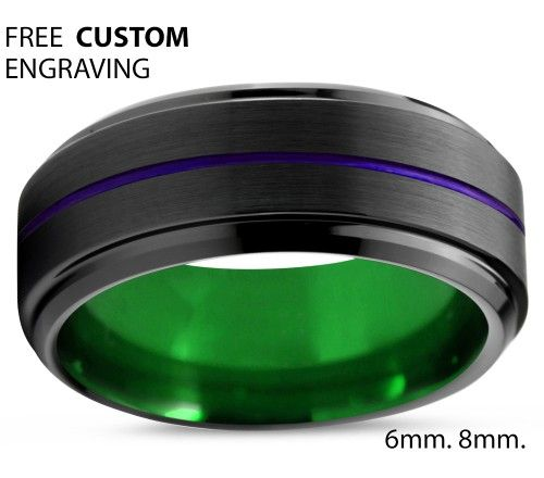 black green purple tungsten carbide ring men wedding band ring 8mm for my joker - Green Wedding Rings