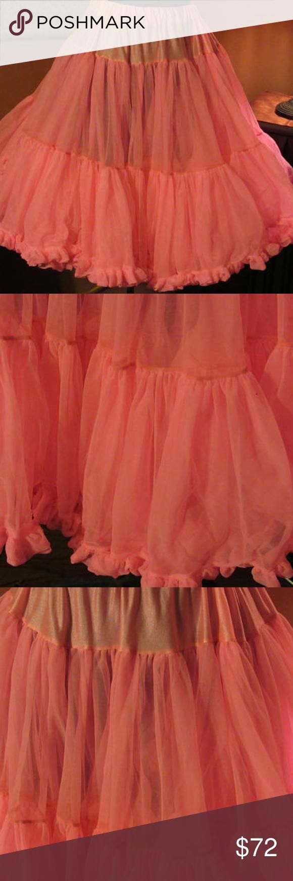 Hot pink and orange dress  Vintage Hot Pink Tier Petticoat  Size Medium  My Posh Picks