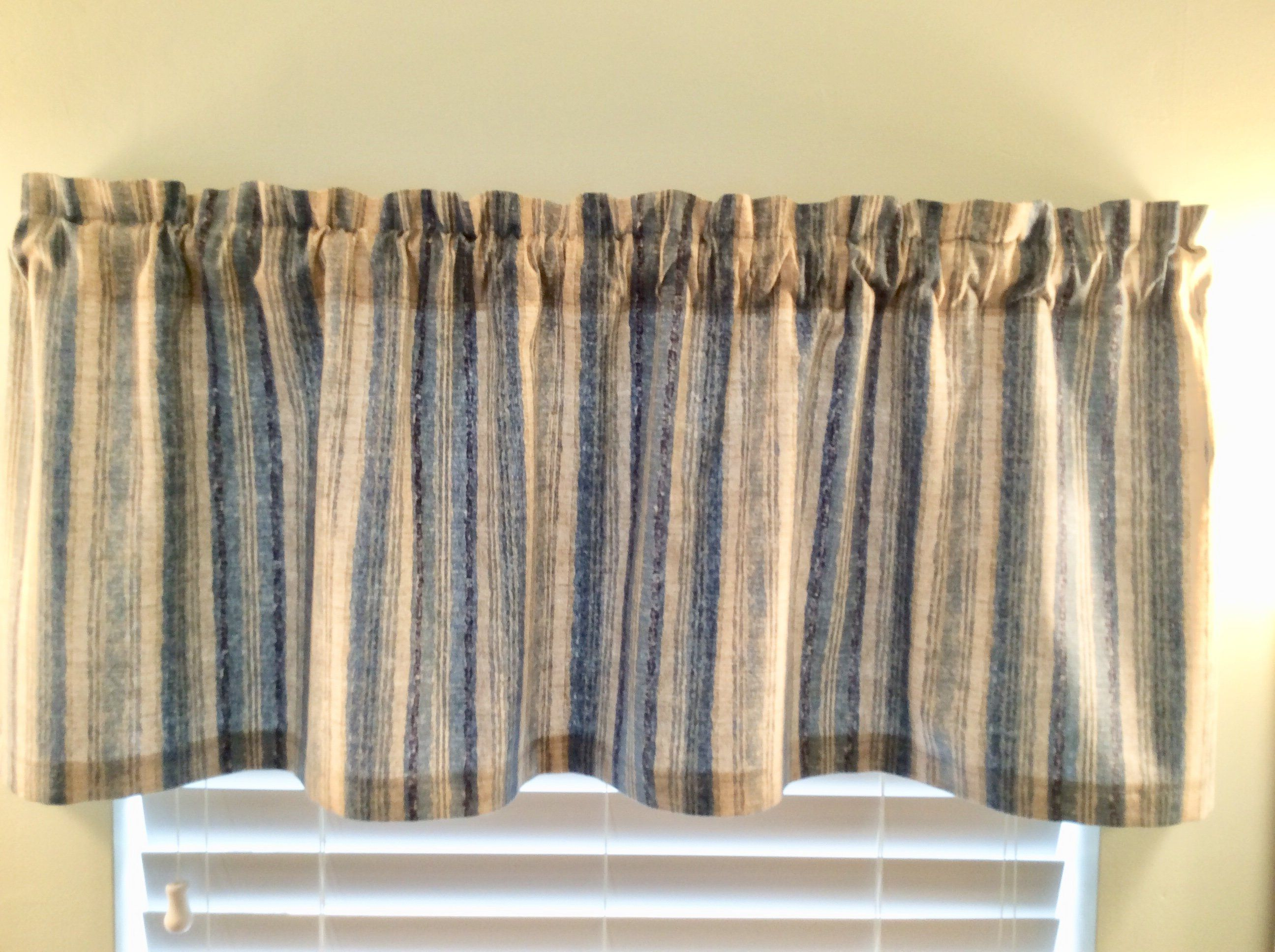 Blue Stripe Valance And Grey Kitchen Livingroom Bedroom By Kelleysbeachdecor On Etsy