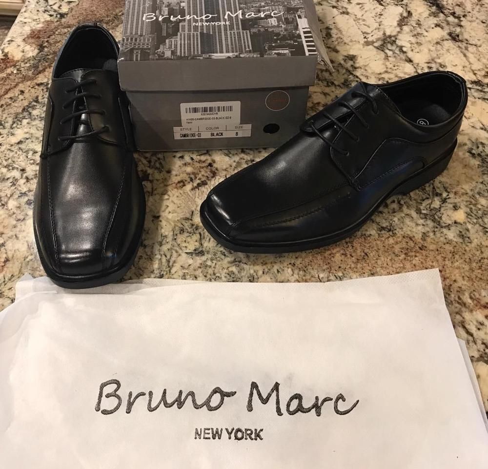 Bruno marc black dress shoes mens size new in box oxford lace ups