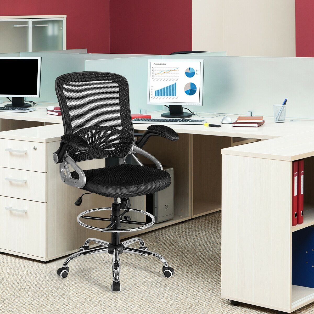 ergonomic drafting chair with flip up arms