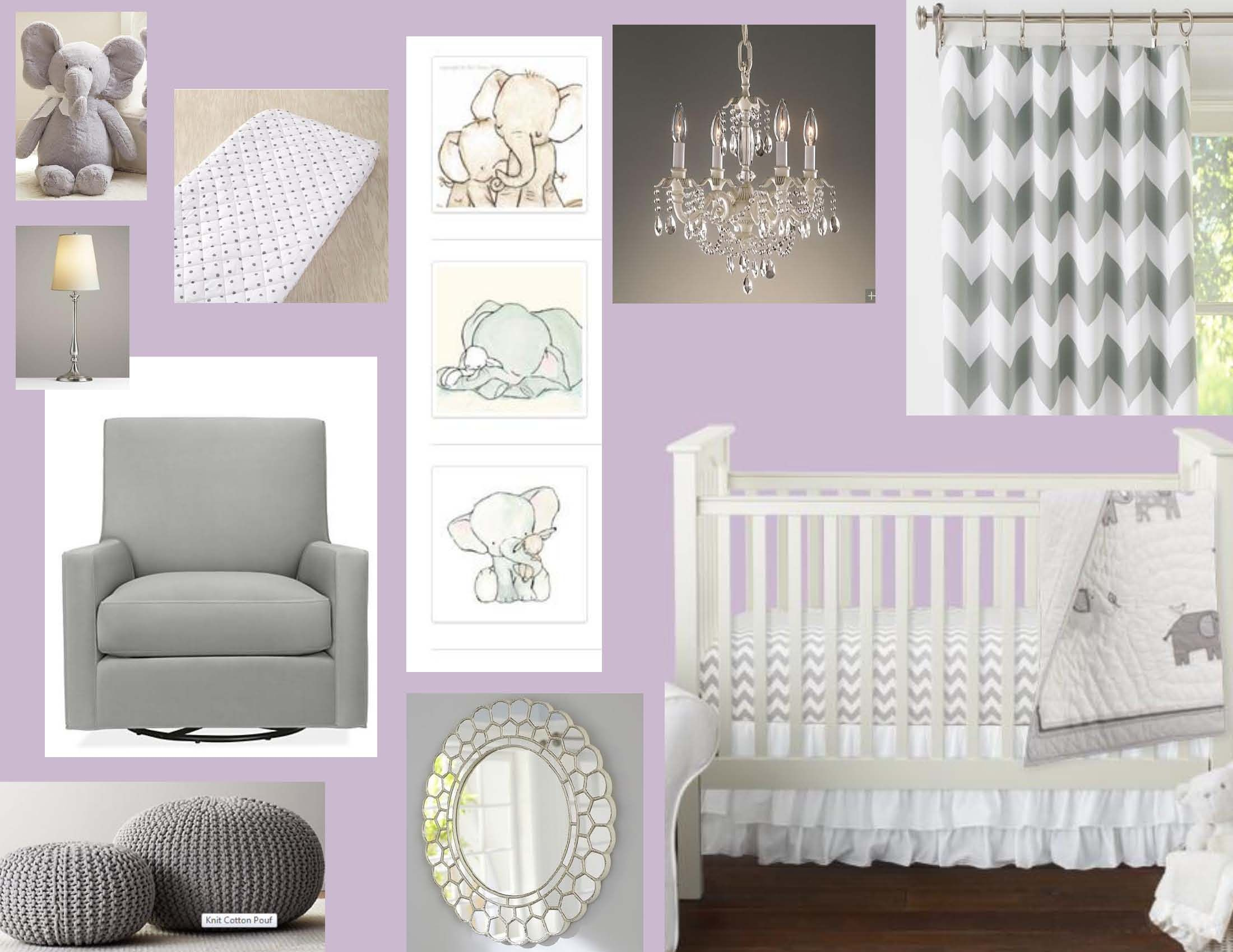 Purple And Grey Elephant Nursery Design Board